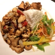 Fried Chicken with Cashew nuts served with rice and vegetables